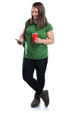 Student with smartphone cola drink young woman full body portrai Royalty Free Stock Photography
