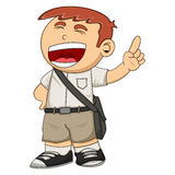 Student smile and raise his finger cartoon. Full color Royalty Free Stock Image