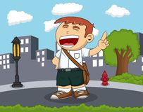 Student smile and raise his finger standing on the road with city background cartoon. Full color Stock Images