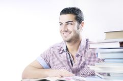 Student smiling with books on white background Royalty Free Stock Photography