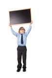 Student smiling and holding blackboard Stock Photos
