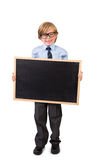 Student smiling and holding blackboard Royalty Free Stock Photography