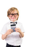 Student smiling and holding calculator Royalty Free Stock Photos
