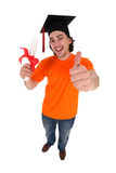 Student smiling holding a degree Stock Photos