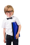 Student smiling and holding notebook Royalty Free Stock Photos