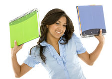 Student smiling with notebooks Royalty Free Stock Images