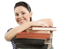 Student smiling over book Stock Photos