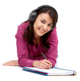 Student smiling while studying Royalty Free Stock Photo