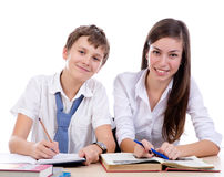 Student smiling working together Stock Image