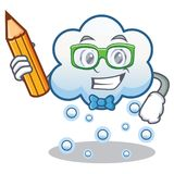 Student snow cloud character cartoon Royalty Free Stock Photos