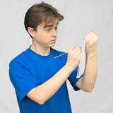 Student solves the task stock images