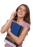 The student speaks by phone Stock Photography