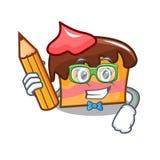 Student sponge cake character cartoon. Vector illustration Royalty Free Stock Photos