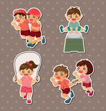 Student sport game stickers. Cartoon vector illustration Stock Images