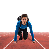 Student sprinter. Teenager boy with backpack ready to run Stock Images