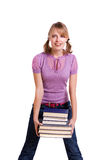 Student with the stack of book. Royalty Free Stock Photos