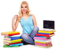Student with stack book. Royalty Free Stock Photos