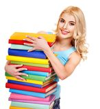 Student with stack book. Stock Photography