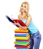 Student with stack book. Royalty Free Stock Photo