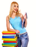 Student with stack book. Royalty Free Stock Photography