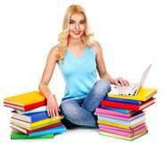 Student with stack book. Royalty Free Stock Image