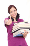 Student with stack of books Royalty Free Stock Photo