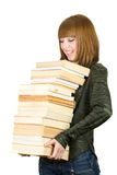 Student with a stack of books Stock Photos
