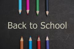 Back to school. Student stationery are on the black board Royalty Free Stock Photos