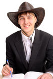 Student in stetson hat Royalty Free Stock Images