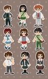 Student stickers. Cute cartoon vector illusttration Stock Photography