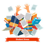 Student stress. Studying buried under a book pile Royalty Free Stock Image