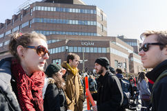 Student strike before UQAM university at Montreal Downtown Stock Photo
