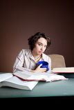 Student studies alone Royalty Free Stock Photo