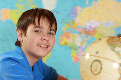 Student studies geography Royalty Free Stock Photography