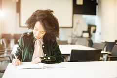 Student study hard. exam preparation. study in europe. Latin curly fancy girl Royalty Free Stock Images