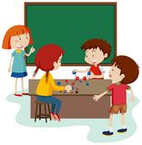 Student Study Molecule i klassrum vektor illustrationer