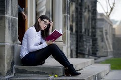 Student studying on campus Royalty Free Stock Photography