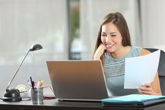 Student studying or entrepreneur working at home Royalty Free Stock Image