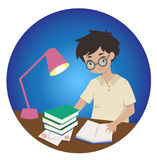 Student studying for exam late at night. An industrious and hardworking boy student studying for an exam late at night under a lampshade Stock Illustration