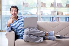 Student studying at home for exams Royalty Free Stock Images