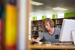 Student studying in the library with computer Royalty Free Stock Photo
