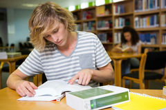 Student studying in the library Stock Image