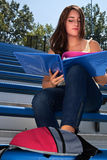 Student Studying Outdoors Stock Images