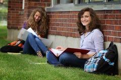 Student studying outside Stock Image