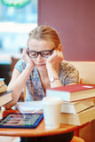 Student studying or preparing for exams stock images