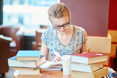 Student studying or preparing for exams Stock Image