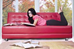 Student studying on sofa at home Royalty Free Stock Image