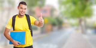 Student success successful thumbs up smiling people town banner copyspace copy space. City stock images