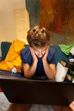 Student suffering from tiredness. Before exam, vertical royalty free stock photo