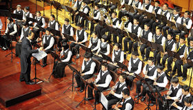 Student symphonic band perform on concert Stock Photo